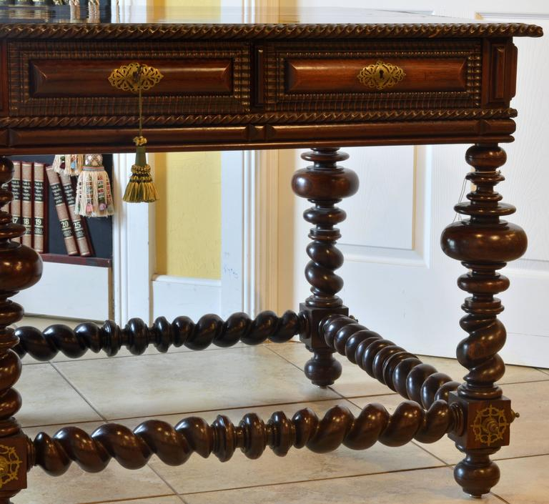 19th Century Eight-Drawer Portuguese Baroque Style Rosewood Library Hall Table 3