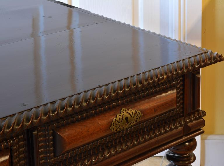 19th Century Eight-Drawer Portuguese Baroque Style Rosewood Library Hall Table 5