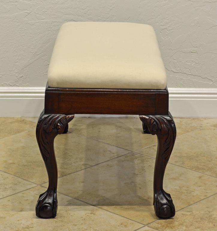 Attractive 19th Century Chippendale Style Mahogany Bench with Claw and Ball Feet 3