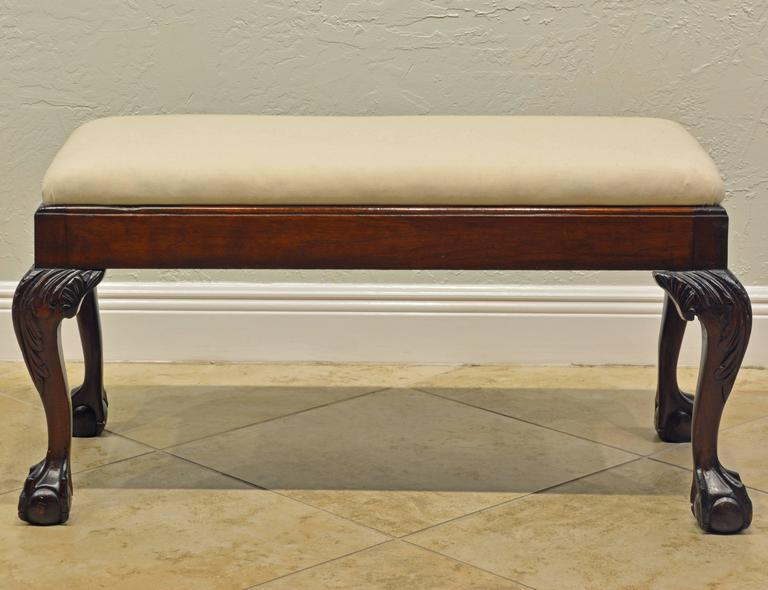Attractive 19th Century Chippendale Style Mahogany Bench with Claw and Ball Feet 2