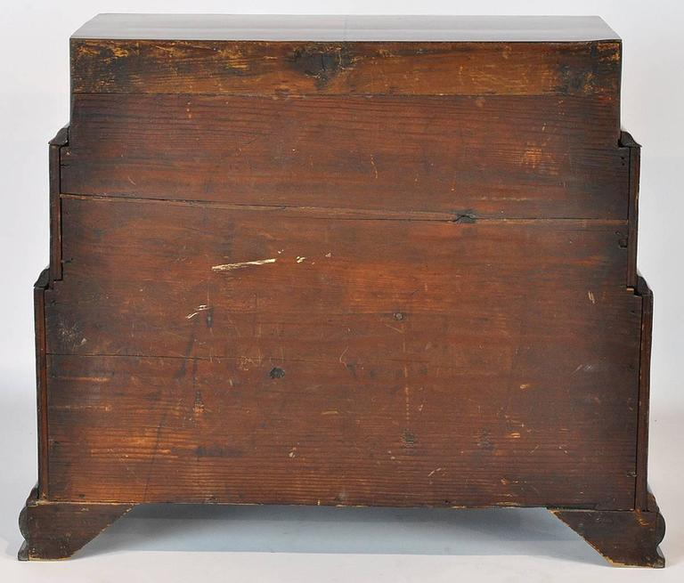 Unusual 18th Ct. Walnut Chippendale English Miniature Chest of Drawers 5