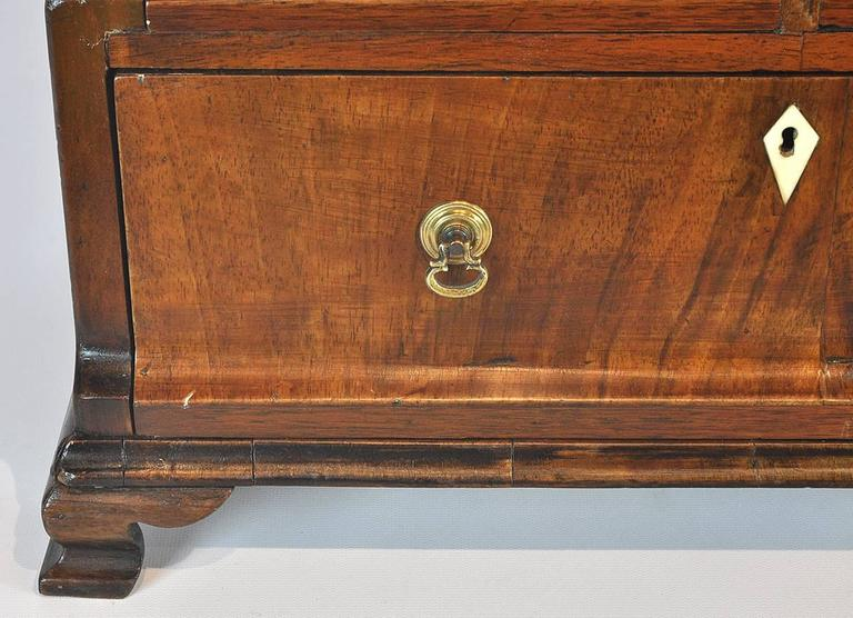 Unusual 18th Ct. Walnut Chippendale English Miniature Chest of Drawers 8