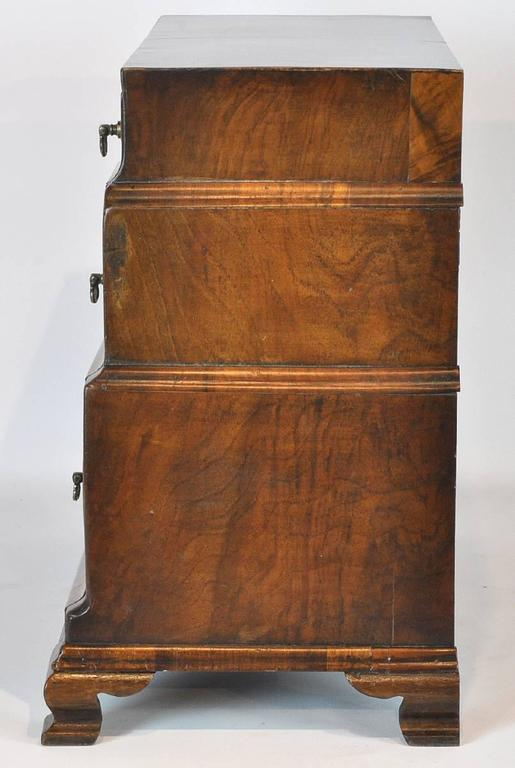 Unusual 18th Ct. Walnut Chippendale English Miniature Chest of Drawers 4