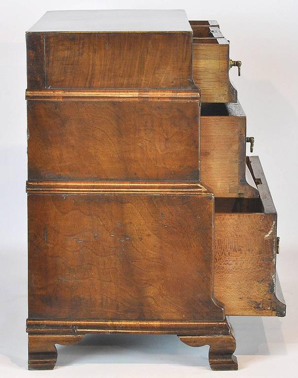 Unusual 18th Ct. Walnut Chippendale English Miniature Chest of Drawers 3