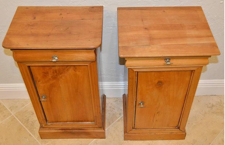 Pair of 19th Ct. French Directoire Fruitwood End Tables with 1 Door & 1 Drawer 5