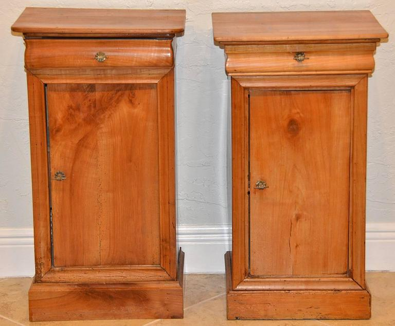 Pair of 19th Ct. French Directoire Fruitwood End Tables with 1 Door & 1 Drawer 2