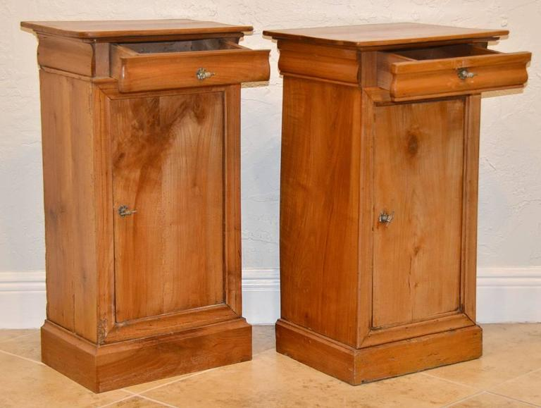 Pair of 19th Ct. French Directoire Fruitwood End Tables with 1 Door & 1 Drawer 3