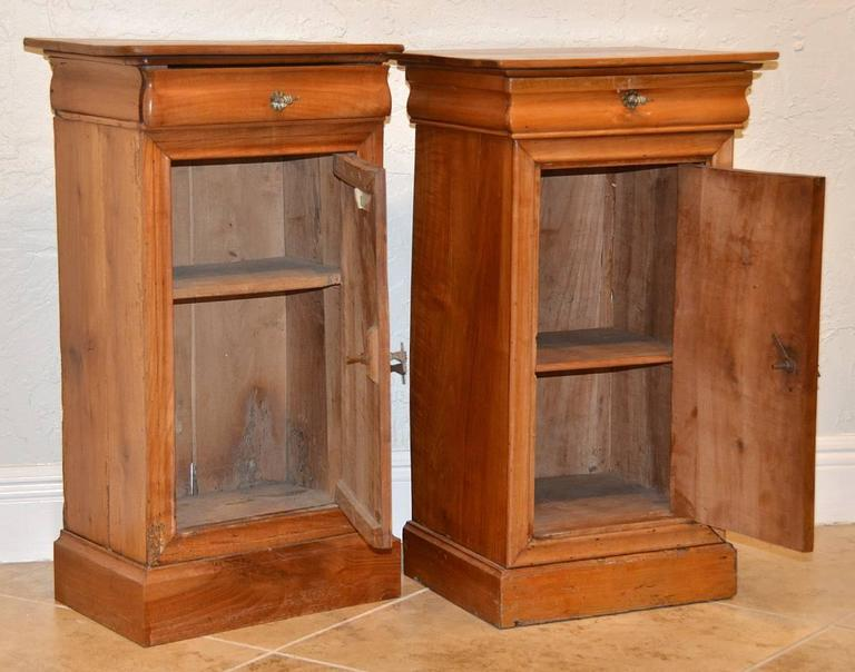 Pair of 19th Ct. French Directoire Fruitwood End Tables with 1 Door & 1 Drawer 4