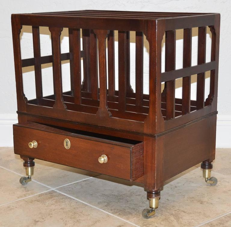 19th Ct. English Sheraton Mahogany Canterbury with Bronze Casters and 1 Drawer 2