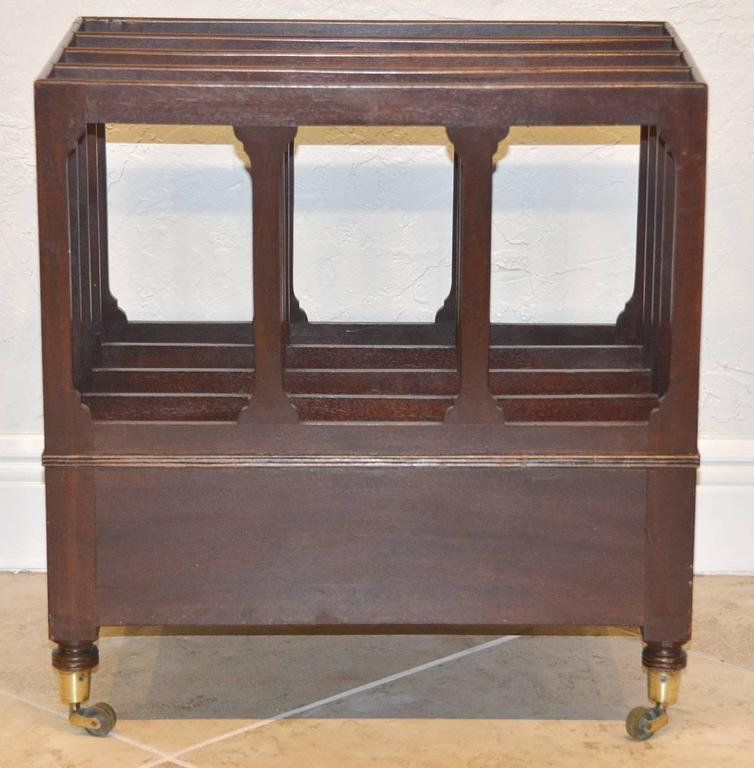 19th Ct. English Sheraton Mahogany Canterbury with Bronze Casters and 1 Drawer 6