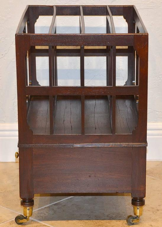 19th Ct. English Sheraton Mahogany Canterbury with Bronze Casters and 1 Drawer 3