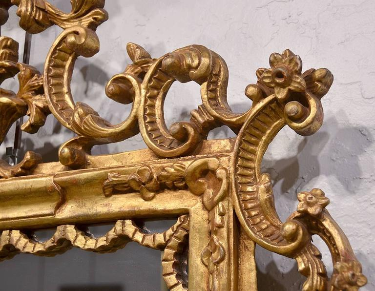 Pair of Carved Gilt Wood Italian Baroque Style Mirrors 7