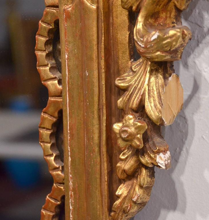 Pair of Carved Gilt Wood Italian Baroque Style Mirrors 9