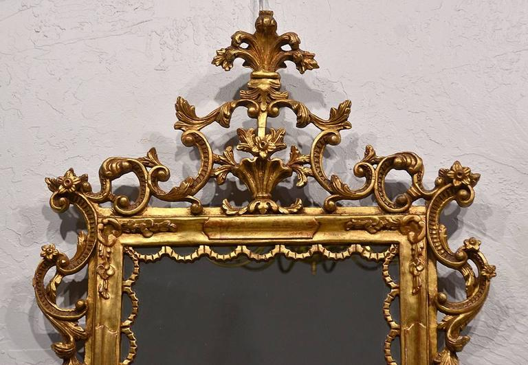 Pair of Carved Gilt Wood Italian Baroque Style Mirrors 2