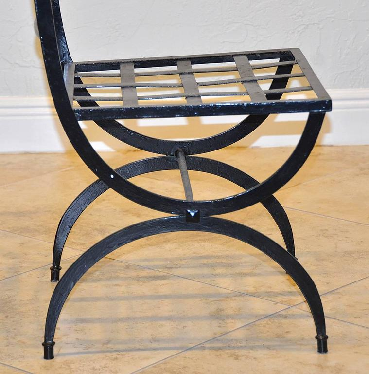 Set of Eight French Wrought Iron Chairs, Empire Style, Early 20th Century 3