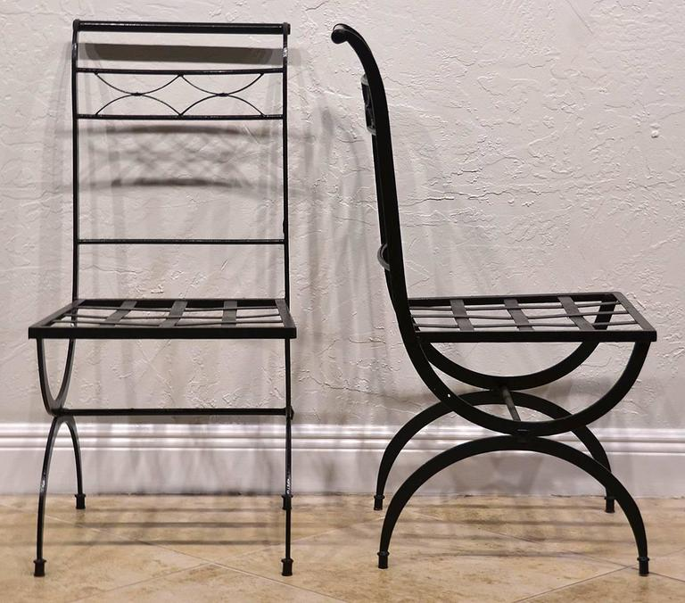 Set of Eight French Wrought Iron Chairs, Empire Style, Early 20th Century 5