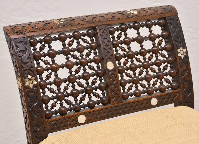 19th Century Moroccan Bench with Mother of Pearl and Bone Inlay 3