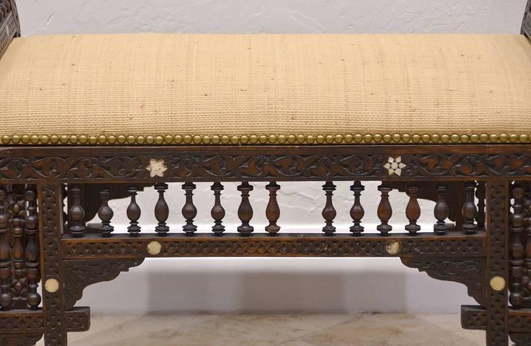 19th Century Moroccan Bench with Mother of Pearl and Bone Inlay 6