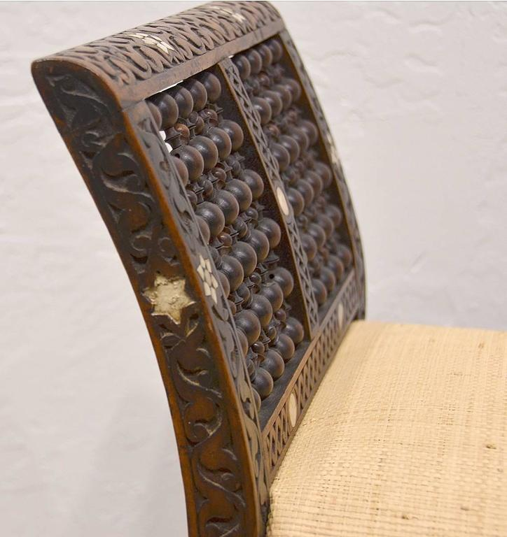 19th Century Moroccan Bench with Mother of Pearl and Bone Inlay 4