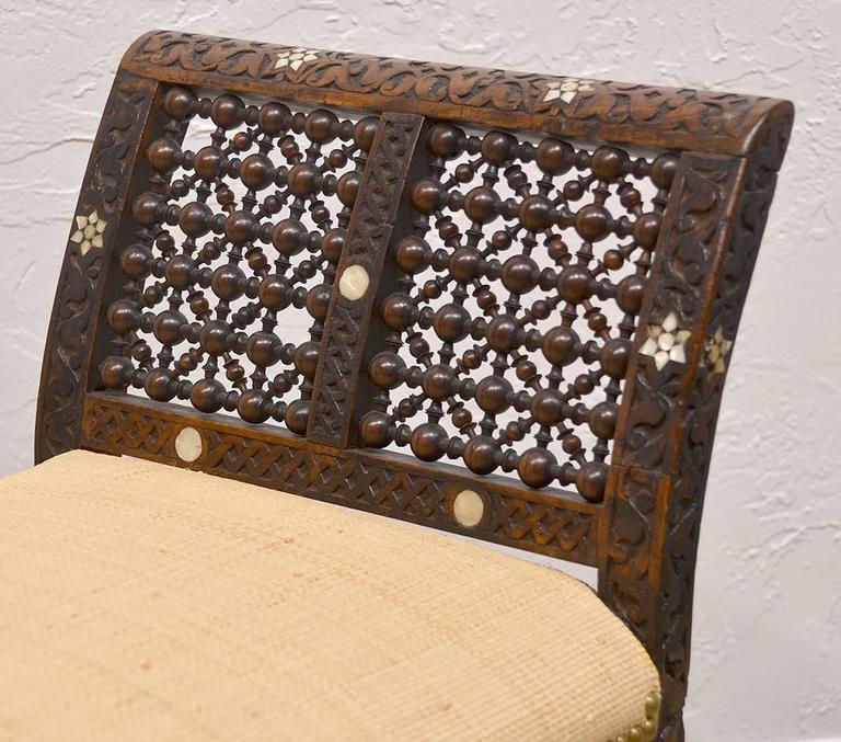 19th Century Moroccan Bench with Mother of Pearl and Bone Inlay 7
