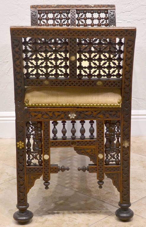 19th Century Moroccan Bench with Mother of Pearl and Bone Inlay 2