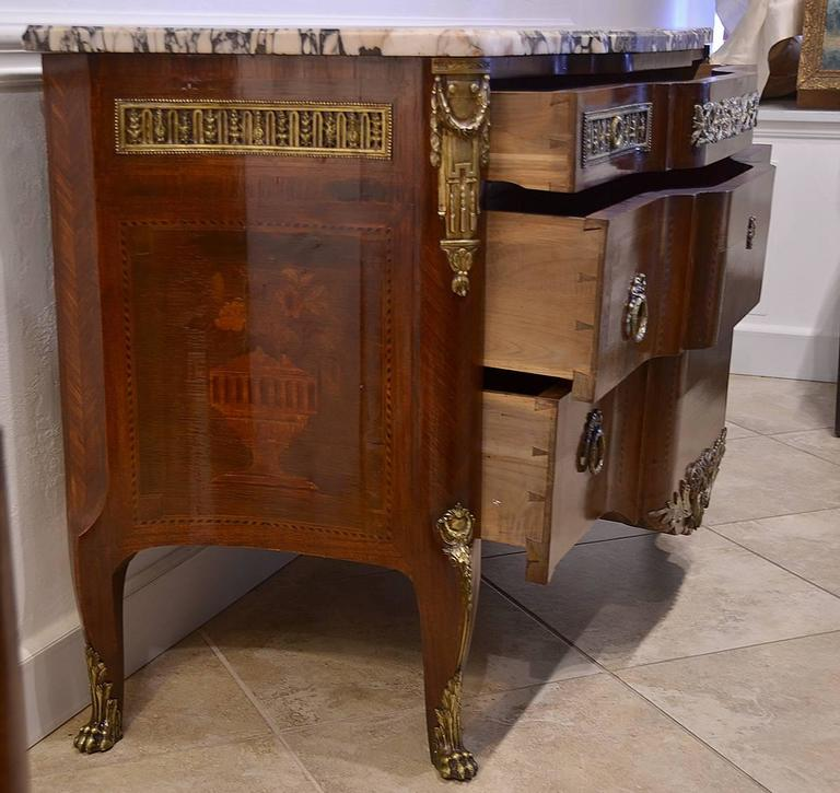 French Louis XV Style Marble-Top Bronze Mounted Commode, Late 19th Century 6