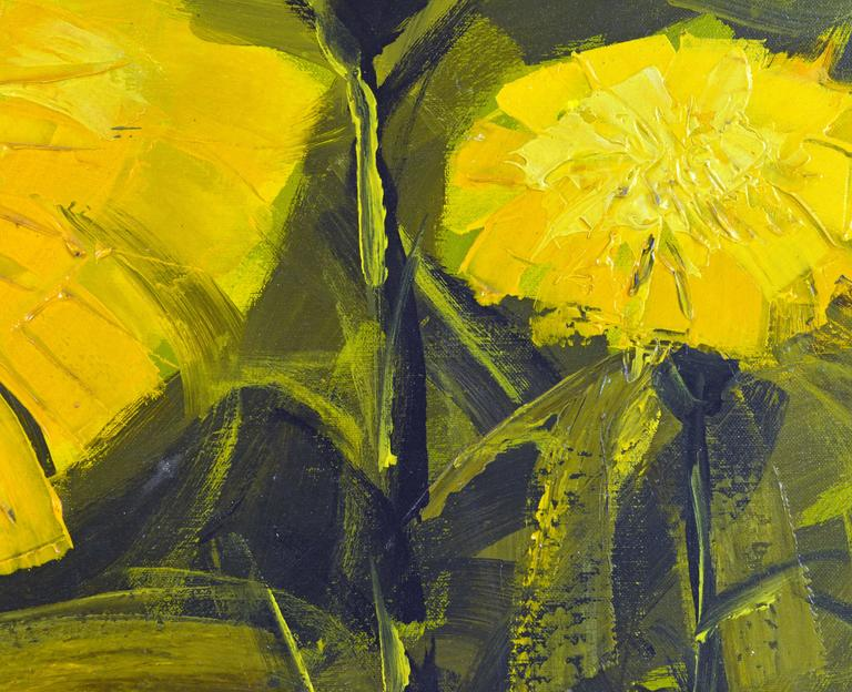 Mid century modern oil painting of yellow flowers by mccaine palm canvas mid century modern oil painting of yellow flowers by mccaine palm springs artist for mightylinksfo