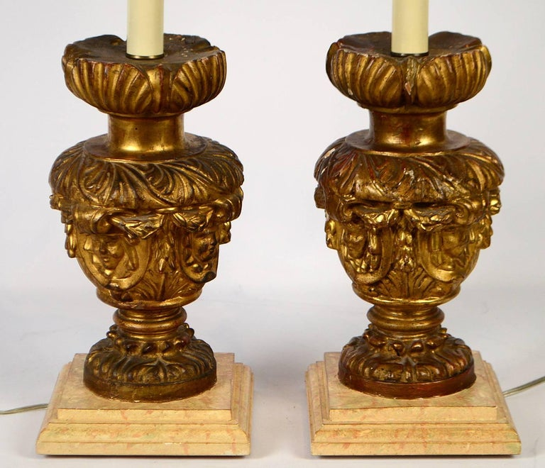Pair of 18th-19th Century Carved Italian Giltwood Lamps 2