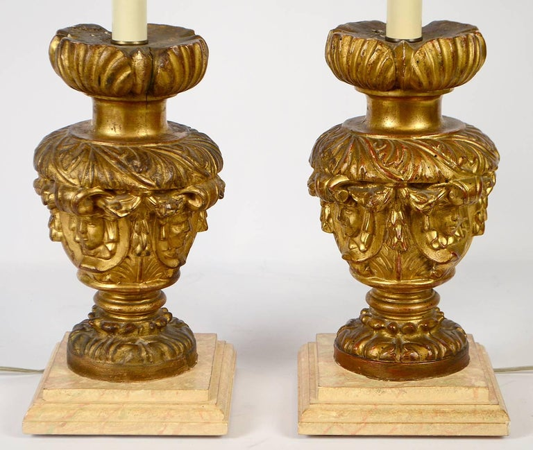 Pair of 18th-19th Century Carved Italian Giltwood Lamps 4