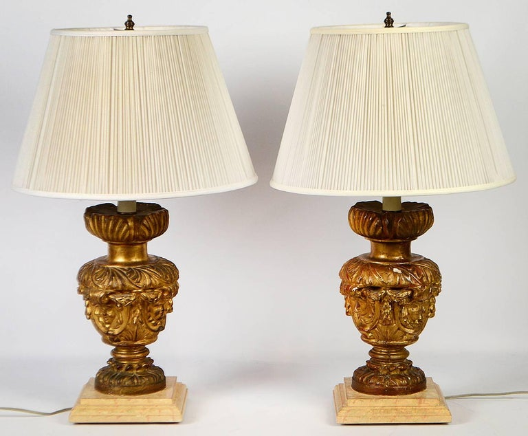 Pair of 18th-19th Century Carved Italian Giltwood Lamps 6