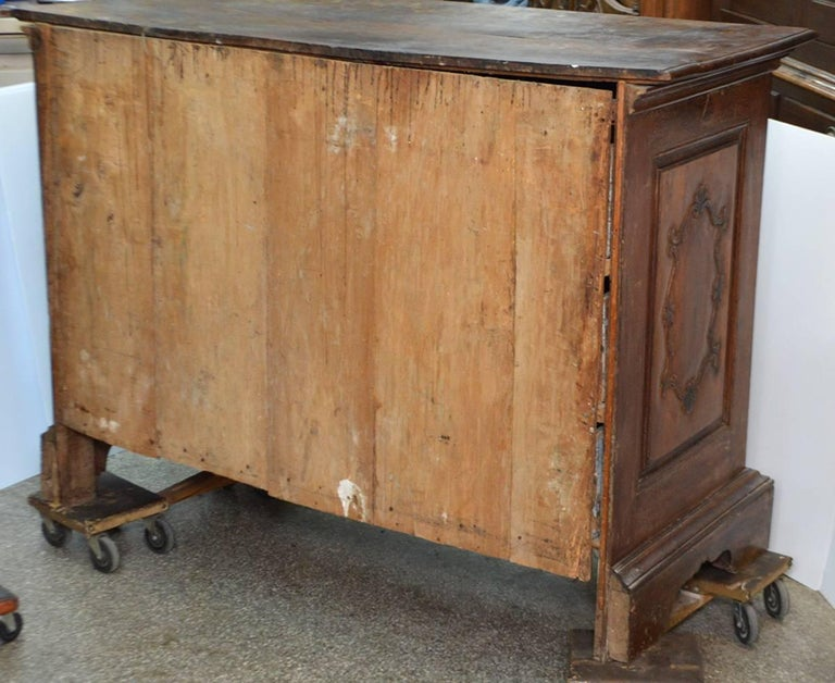 Large 18th Century Italian Carved Walnut Chest with Carved Side Panels 2