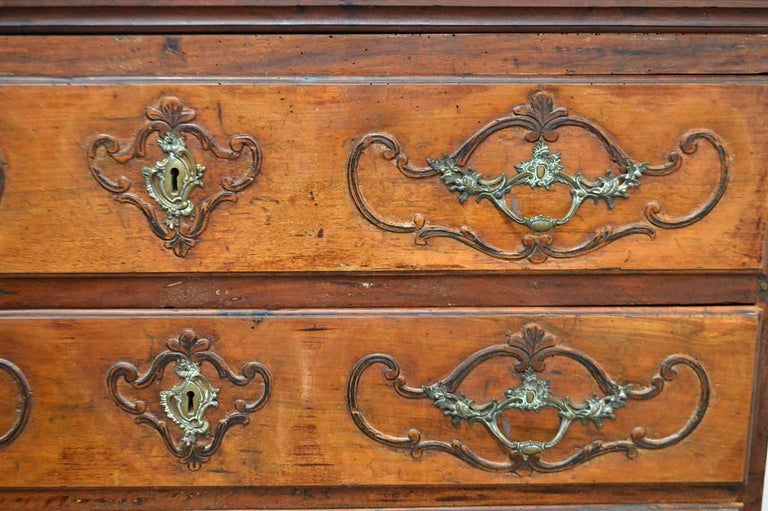 Large 18th Century Italian Carved Walnut Chest with Carved Side Panels For Sale 1