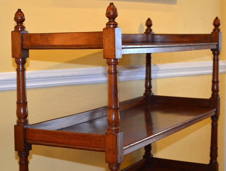English Mahogany Three-Tiered Trolly with Brass Wheeled Casters 4