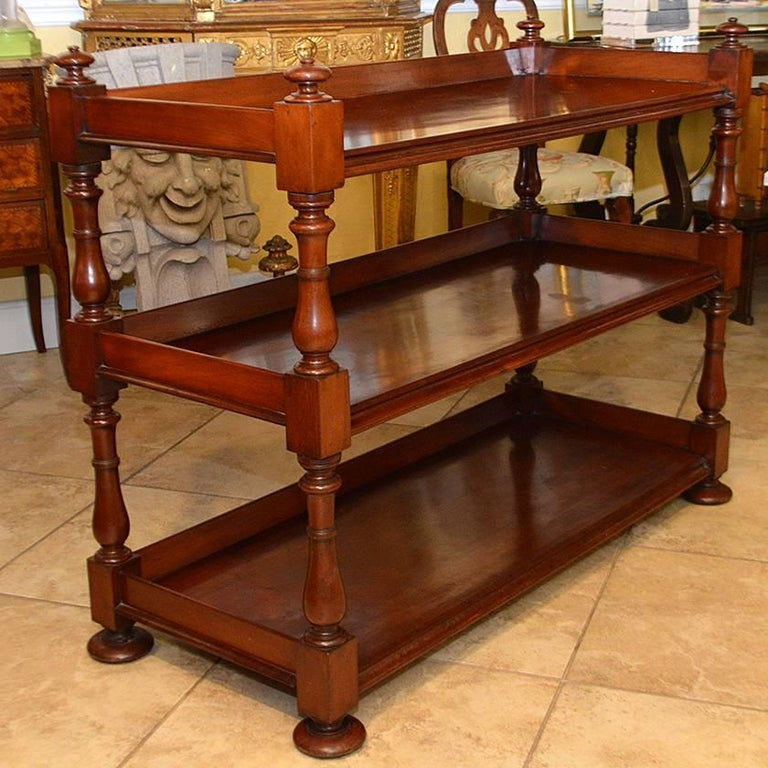 19th Century English Mahogany Three-Tiered Regency Style Trolley In Excellent Condition For Sale In Ft. Lauderdale, FL