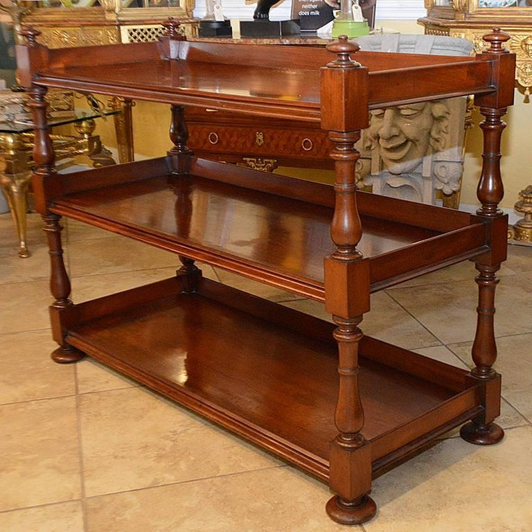 19th Century English Mahogany Three-Tiered Regency Style Trolley For Sale 1