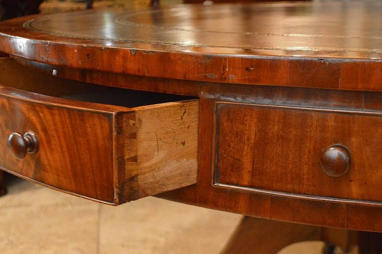 19th Century Mahogany Leather Top Rent Table with 4 Drawers & 4 Faux Drawers 2