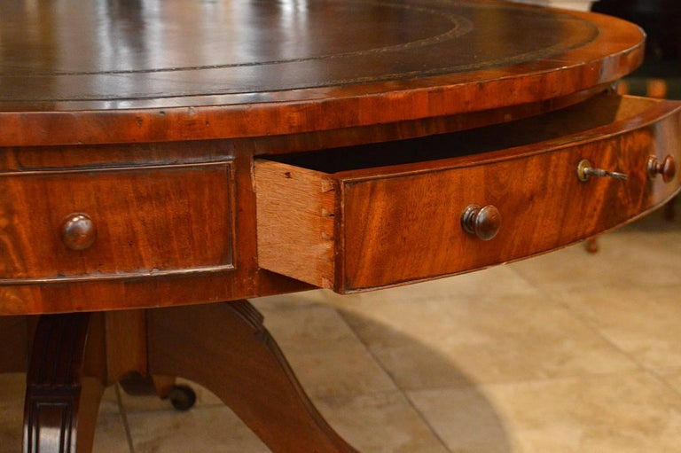 19th Century Mahogany Leather Top Rent Table with 4 Drawers & 4 Faux Drawers 4