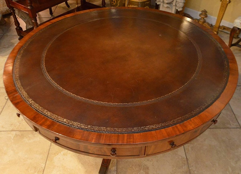 19th Century Mahogany Leather Top Rent Table with 4 Drawers & 4 Faux Drawers 6