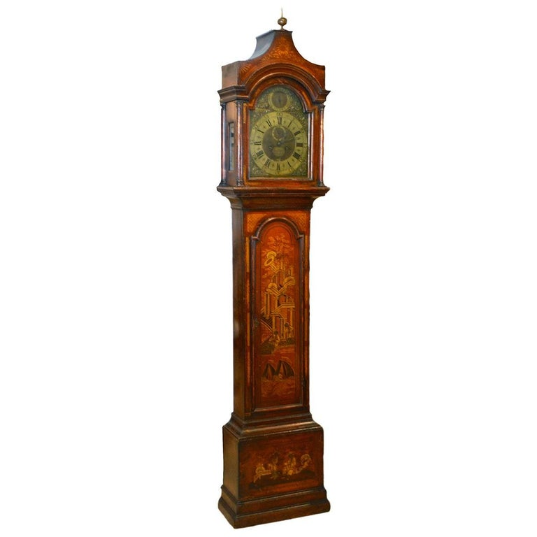 Wonderful English 18th-19th Century Red Chinoiserie Grandfather Clock 1
