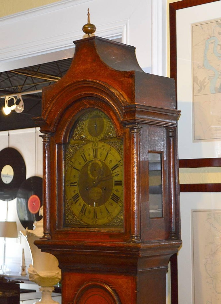 Wonderful English 18th-19th Century Red Chinoiserie Grandfather Clock 2