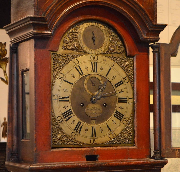 Wonderful English 18th-19th Century Red Chinoiserie Grandfather Clock 3