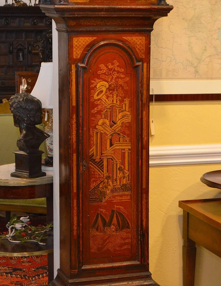Wonderful English 18th-19th Century Red Chinoiserie Grandfather Clock 5