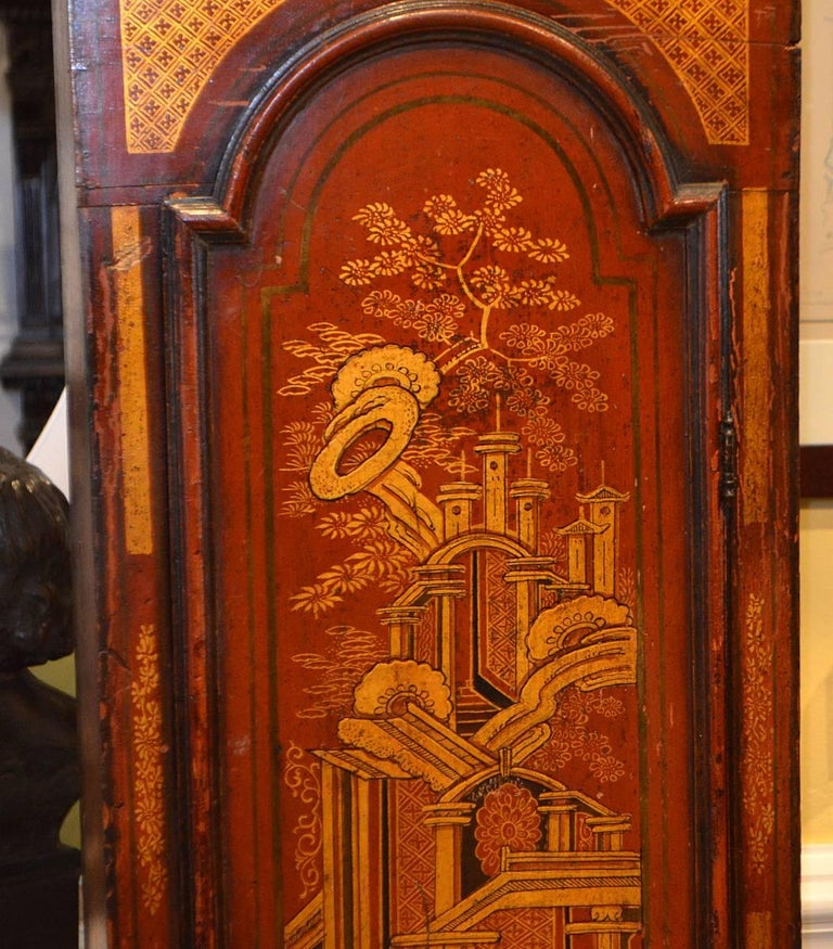 Wonderful English 18th-19th Century Red Chinoiserie Grandfather Clock 6
