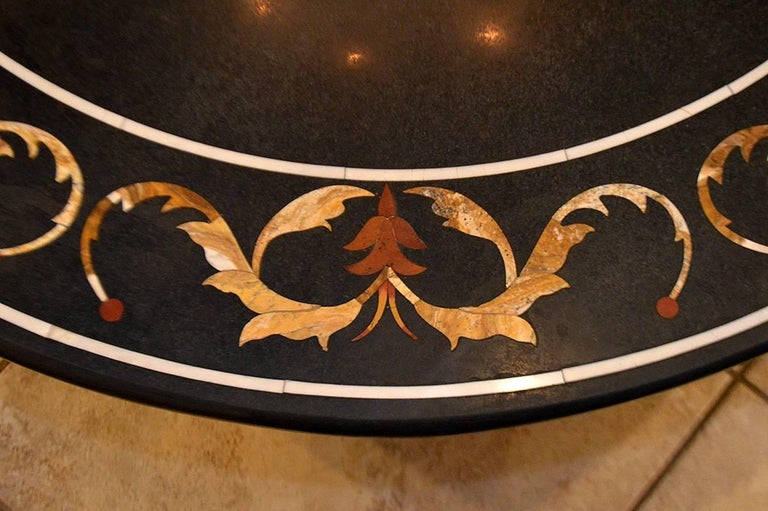 Pietra Dura top on associated iron base. 19th century top. Wonderful design. Great condition.
