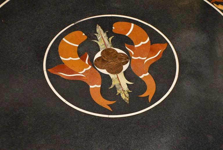 Italian 19th Century Pietra Dura Top Coffee Table with Iron Base For Sale