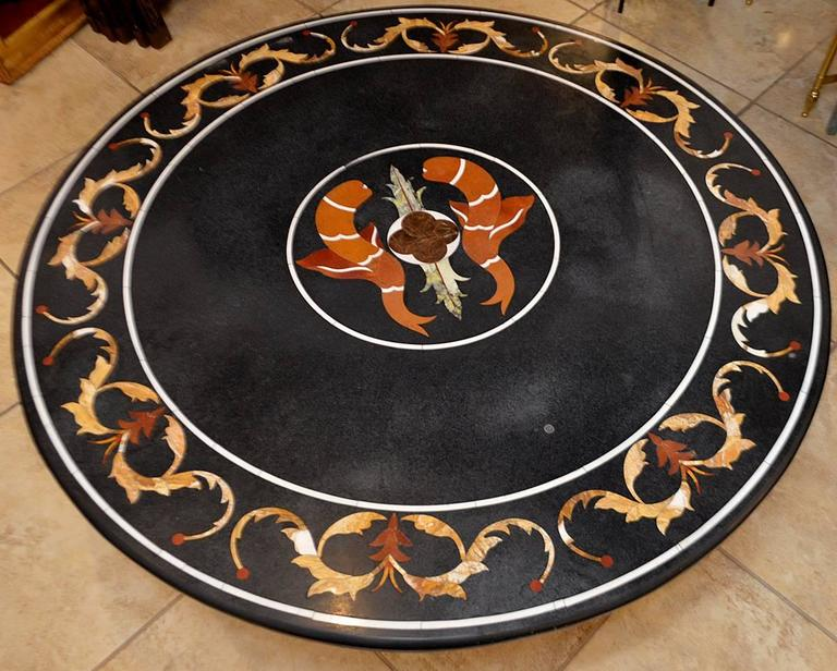 19th Century Pietra Dura Top Coffee Table with Iron Base In Excellent Condition For Sale In Ft. Lauderdale, FL