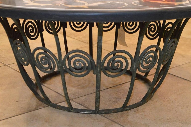 Marble 19th Century Pietra Dura Top Coffee Table with Iron Base For Sale