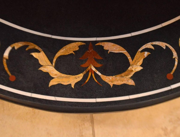 19th Century Pietra Dura Top Coffee Table with Iron Base For Sale 1
