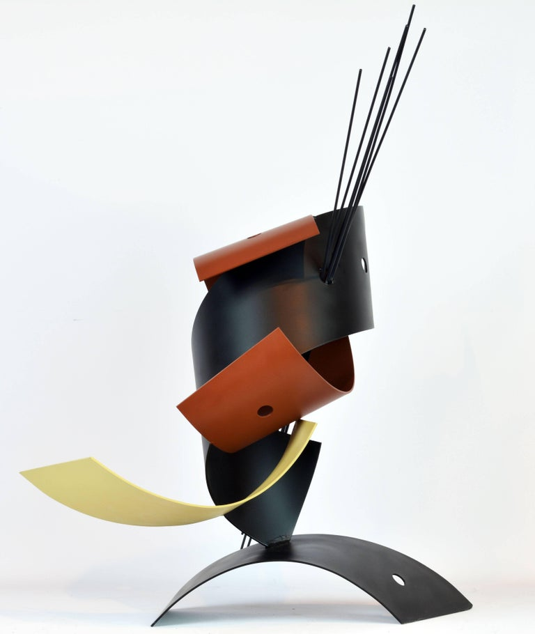 Standing 28 inches tall this sculpture combines curved elements of lacquered steel with a group of steel rods into a composition of great sophistication that changes every time the viewer moves.   Curtis Jere is a compound nom-de-plume of artists