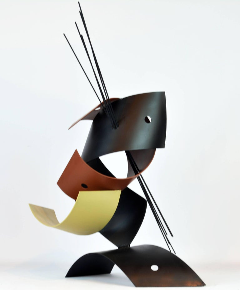 Modern Sophisticated Mid-Century Abstract Colorful Metal Sculpture Signed Curtis Jere For Sale